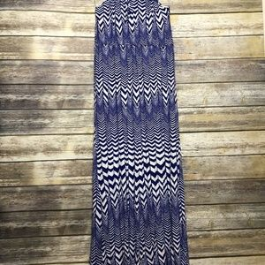 Skies Are Blue Maxi Dress Blue White Chevron Large